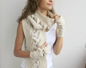 Beige Wool Scarf And Mittens Warm set Special Design By DenizGunes Christmas Gift - denizgunes