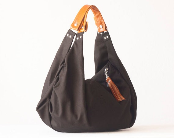 Black hobo bag shoulder slouch purse in canvas and light