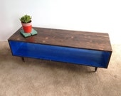 FREE SHIPPING!!!Coffee Table-Handmade Mid Century Modern COBALT and Chocolate  Brown (or custom color) Coffee  Table Modern Mid Century