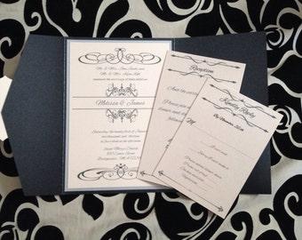 Vintage calligraphy designed pocket fold wedding invitation set in blush and black