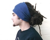 Mens blue headband, wide knitted hair wrap, dreadlocks cover up.