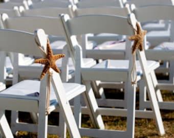 "Beach Wedding Starfish Chair Decoration - Natural White or Brown Sugar Starfish 6""-8"""