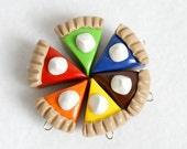 Polymer Clay Pie Charms, Set of 6 Charms