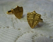 Gold Heraldic Shield Cuff Links - Crusades Cuff Links - Medieval Knight - Cross - Coat of Arms - Royal Crest - Renaissance Wedding - Armour