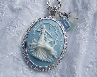 Goddess Cameo Necklace - Diana - Artemis - Huntress - Goddess of the Hunt - Forest - Woodland Wedding - Nature - Blue and White - long chain