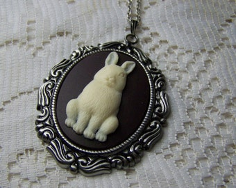 White Rabbit Pendant, Rabbit Cameo necklace, Bunny Necklace, Rococo style, long chain, Alice In Wonderland Rabbit, Easter Bunny, Hare, Large