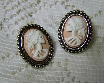 Lady Skeleton Earrings - Pink Lady Goth - Bella Morte - Lady Death - Skeleton earrings - White and Pink - Goth Earrings - Halloween