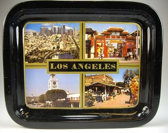 Los Angeles Souvenir Small Decorative Metal Tray, China Town, Farmers Market, LA Skyline