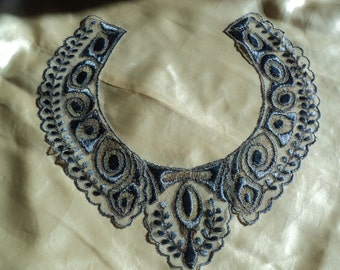 Edwardian to Early 20s Silk and Metallic EmbroideredCollar Old Store Stock never used Restoration