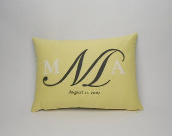 Wedding Monogram Pillow - hand embroidered date and the couples monogram