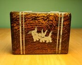Vintage wood box Scottie dog 1950s lacquered box Japan Scottish terrier pair of dogs