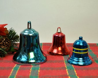 Vintage 1960s Christmas bell ornaments, bell tree ornaments, 3 bells blue red