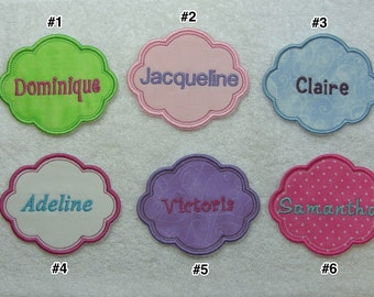 Name Patch Personalized Single Name Patch (6 font choices) Fabric Embroidered Iron On Applique Patch MADE TO ORDER