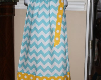 yellow aqua blue chevron Pillowcase dress riley blake blue white yellow polka dot toddler summer dress 3, 6, 9, 12, 18 mo 2t, 3t, 4T