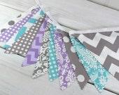 Bunting, Banner, Fabric Flags, Baby Girl Nursery Decor, Photography Prop, Garland - Lavender, Purple, Gray, Aqua Blue, Grey, Chevron, Damask