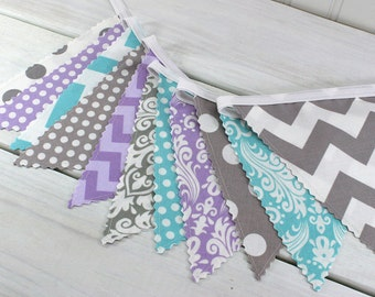 Bunting, Banner, Fabric Flags, Baby Girl Nursery Decor, Photography Prop, Garland - Lavender, Purple, Gray, Aqua Blue, Grey, Chevron, Damask