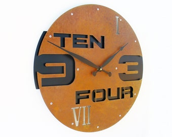 Outnumbered II, Large Wall Clock, Rustic Wall Clock, Unique Wall Clock, Modern Metal Art, Steampunk Home Decor, Industrial, Laser Cut, Gift