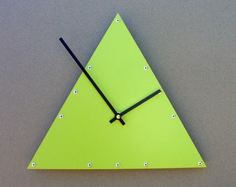 Triangle, Medium, Unique Wall Clock, Modern Wall Clock, Steampunk Wall Clock, Industrial Home Decor, Metal Art, Laser Cut, Cool, Light Green