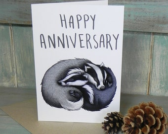 Badger Couple Illustration 'Happy Anniversary' Greeting Card - 280gsm White Card 177 x 127mm Blank Inside with Brown Recycled Envelope
