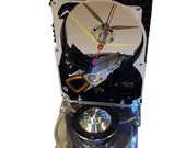 FREE SHIPPING USA! Rare Hard Drive Clock Accented with Shiny Disk Spindle Component. Unique Shape.