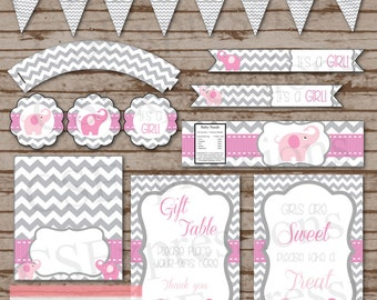 Pink and Gray Elephant Baby Shower Printable Party Package