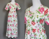 Summer Dress 1980s 1990s Floral Cotton Knit White with Pink Purple Yellow Green Rose Print Medium