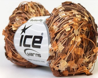 Copper Brown Gold Butterfly Ribbon Yarn - Ice Flag Butterfly Yarn 164Y 50 gram 22559 - On Sale!