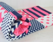 Baby Girl Blanket, Minky Blanket, Crib Blanket, Nautical Nursery Decor, Baby Shower Gift, Pink and Navy Blue Chevron, Dots and Stripes