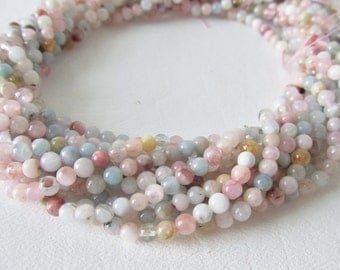 BACK IN STOCK Multi Color Beryl Aquamarine Morganite Heliodor Smooth Polished Rounds, Half Strand