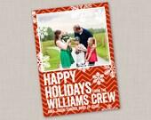 Bold Chevron & Snowflake Holiday Card (Vertical)