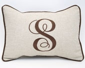 Linen Monogrammed Framed Pillow  Personalized Embroidered Kids Room Wedding Gift Hoilday Baby