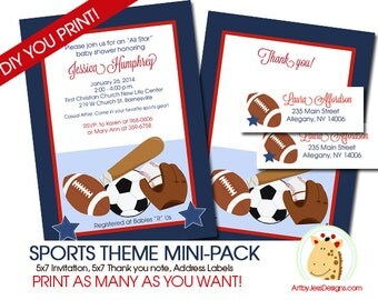 Sports Theme Boy Baby Shower Invitation Mini Party Pack Printable JPG Files, Football, Soccer, Baseball
