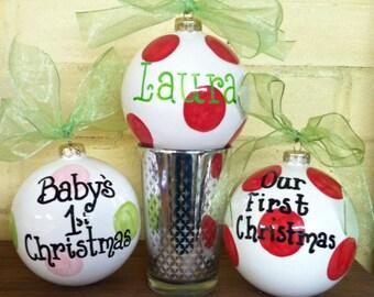 "Personalized Polka Dot 4"" Ball Ornament"