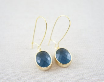 Montana blue gold oval faceted earrings -  kidney ear wire, wedding, classic, bridesmaids, something blue