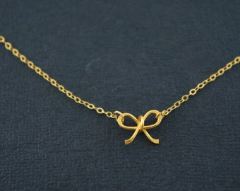 24K vermeil over starling silver bow necklace, bridesmaid, wedding gift, love, friendship, ribbon, layered necklace