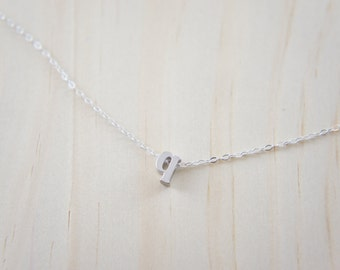 "Silver Letter, Alphabet, Initial  ""q"" necklace, birthday gift, lucky charm, layered necklace, trendy"