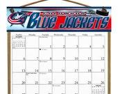 2016 CALENDAR - Columbus Blue Jackets Wooden  Calendar Holder filled with a 2016 calendar & a refill order form page for 2017.