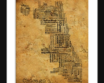 Chicago Map Typography Grunge Map Poster Print