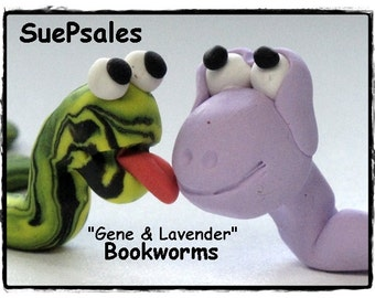 2 Polymer Clay Bookworms Bookmarks 3D Bookmarks Funny Bookmarks Cute Bookmarks Reading Buddies