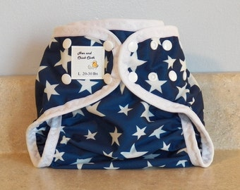Large PUL Diaper Cover with Leg Gussets- 20 to 30 pounds- Stars- 23011