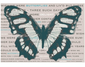 Butterfly print A4 wall art Keats love poem poetry anniversary wedding