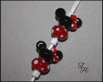 Mouse Ears with Bows and matching dots beads 4 Handmade Glass Lampwork Beads Pair by TinaHbeads