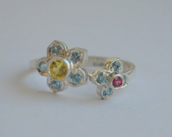 Victorian Inspired Two Flower Open Ring in Argentium Silver with Zircon, Chrysoberyl and Spinel