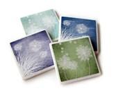 Pastel Blowing Dandelion Decorative Tile Coasters Set of 4, Purple Blue Home Decor