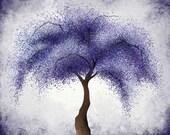Dark Purple Violet Abstract Tree Wall Art 8 x 10 Print, Willow Tree Home Office Wall Decor (276)