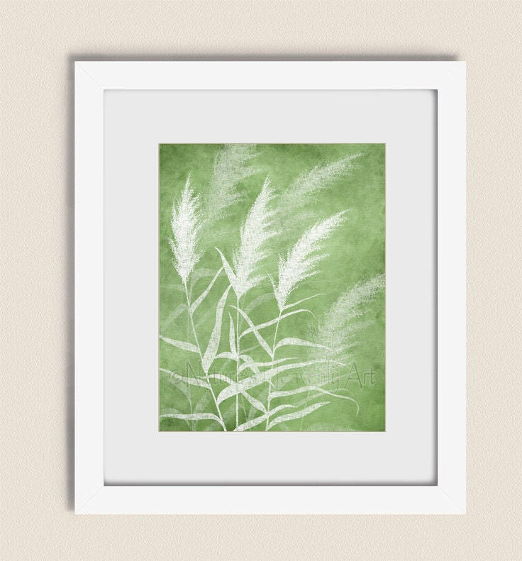 Wind blowing grass wall art lime green living room decor 11 x for Lime green wall art
