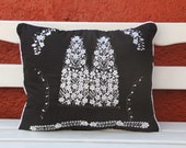 Black and white  Puebla Collection  Sham created from huipil kaftans