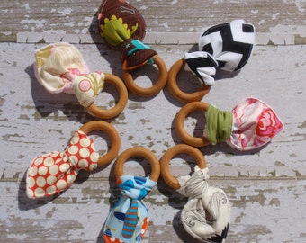 The Couture Mama Teething Ring, Wooden Design, Organic Baby Gift, You Choose the Fabric