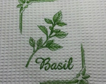 HERB machine embroidered Waffle Weave Kitchen Towel