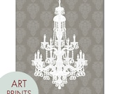 French Chateau Crystal Chandelier - Art Print -(Grey & White) French Country Style (Customizable Colors) Buy 3 get one Free